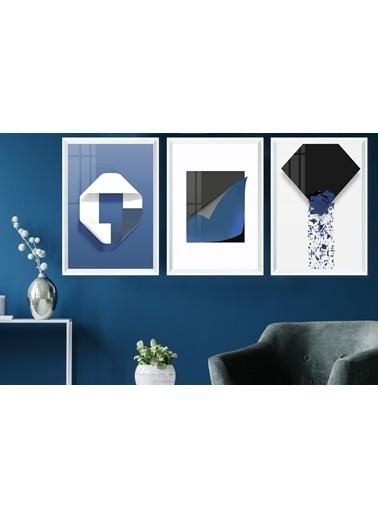 Çerçeve Home  İskandinav Blue Abstract Beyaz Çerçeve Tablo Seti Beyaz